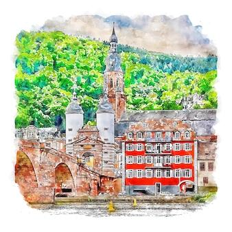 하이델베르그 독일 수채화 스케치 손으로 그린 그림