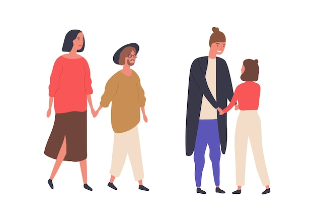 Height difference couples flat vector illustrations. smiling pairs walking together, tall and short partners. relationship, love concept