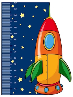 Height measurement chart with rocket