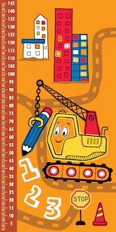 Height measurement wall with funny construction vehicle