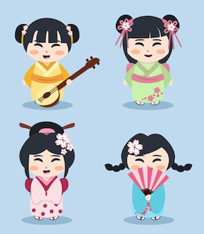 Heishas illustration, japanese kids, oriental girls set