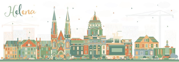 Helena montana city skyline with color buildings. vector illustration. business travel and tourism concept with historic architecture. helena usa cityscape with landmarks.