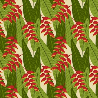 Heliconia flower on green tropical leaves seamless pattern.