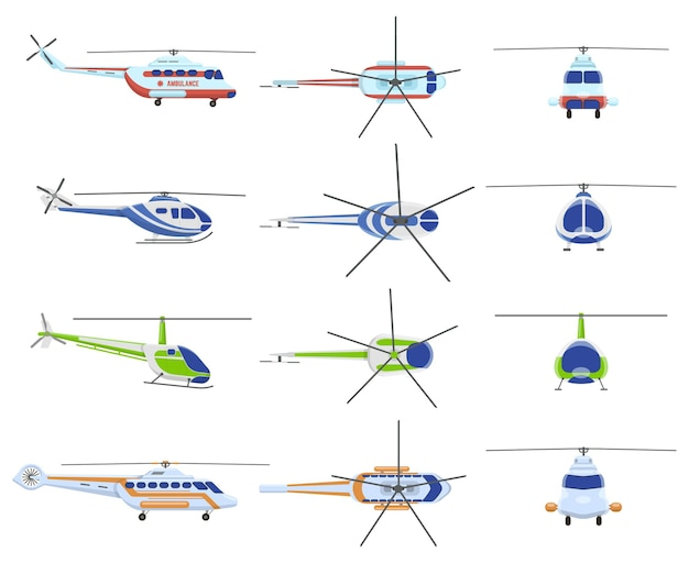 Helicopter aircraft vehicles. avia transportation, city urban, private and medical rescue helicopter.