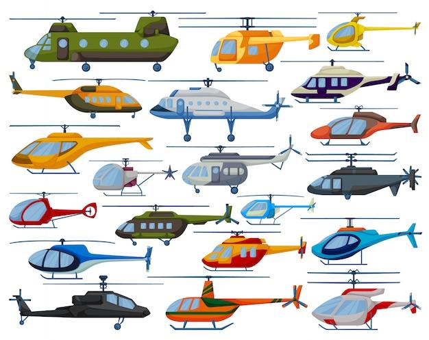 Вертолет мультфильм установить значок. иллюстрация вертолет на белом фоне. мультфильм установить значок вертолет.