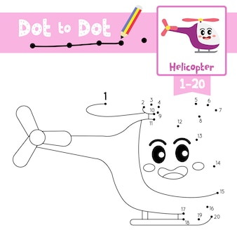 Helicopter dot to dot game and coloring book
