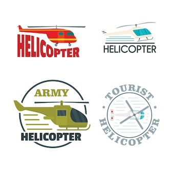 Helicopter drone logo icons set