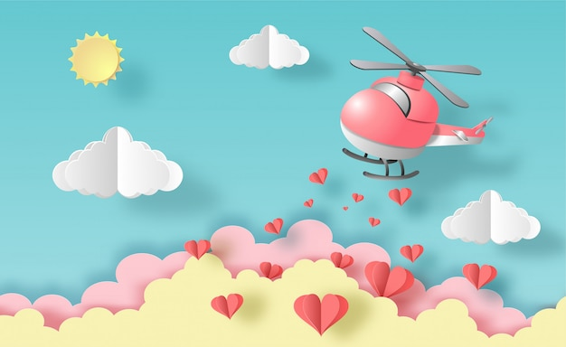 Helicopter flying in the air with many hearts floating, pastel color for posters.