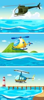 Elicottero, volare, sopra, oceano, illustrazione