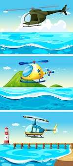 海上を飛んでいるヘリコプターイラスト