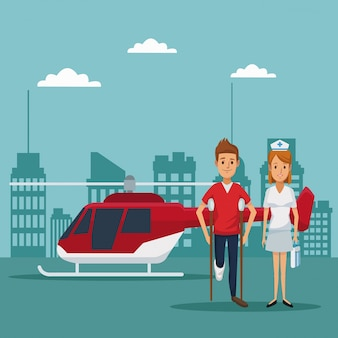 Вертолет летать над головой крупным планом специалист врачи