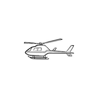 Вертолет рисованной наброски каракули значок. авиационный транспорт, туризм и путешествия, концепция самолета