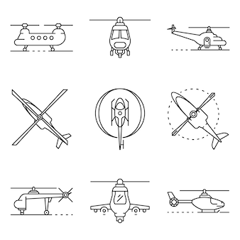 Helicopter icons set. outline set of helicopter vector icons