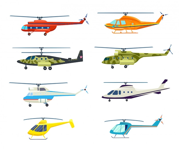 Helicopter isolated  set in flat design