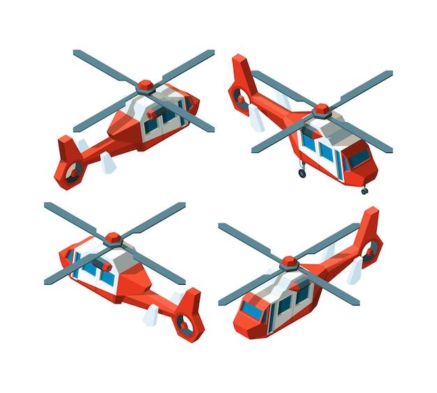 ヘリコプターのアイソメトリック。低ポリアビアは、さまざまなポイントビューコレクションを転送します。