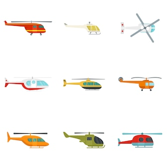Helicopter military aircraft icons set
