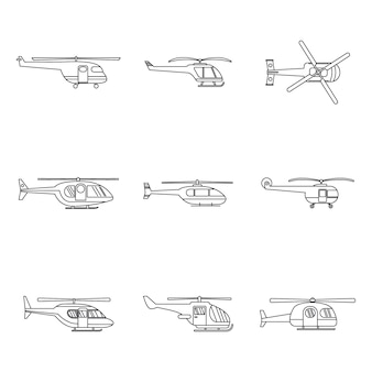 Helicopter military icons set