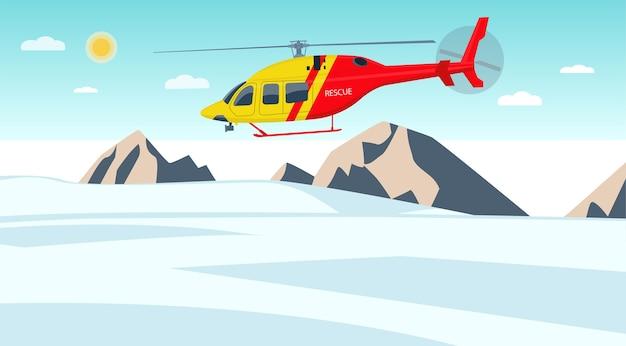 Helicopter rescuer patrols over the glacier.  illustration