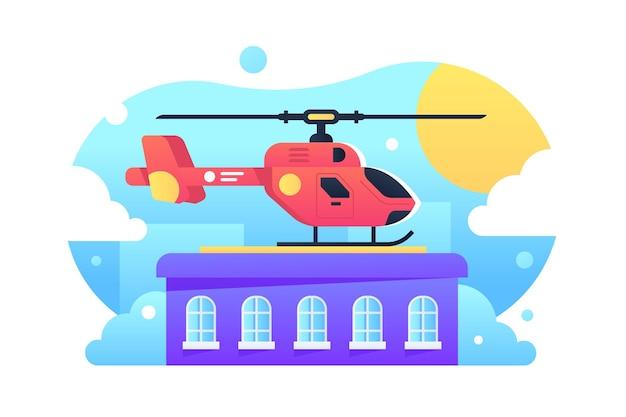 옥상 그림에 헬기 서입니다. 플랫 스타일 착륙 용 헬리 패드. 도시에있는 주거 건물. 항공 운송 및 vip 개념. 외딴