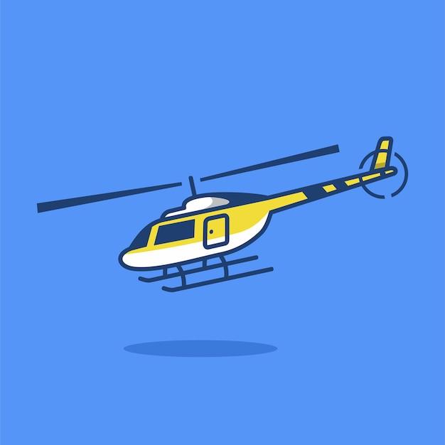 フラット漫画スタイルのヘリコプターベクトルアイコンイラスト