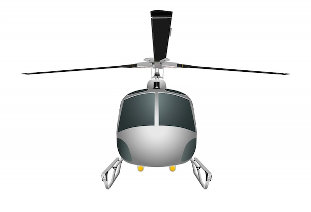 Helicopter with chassis and blades.