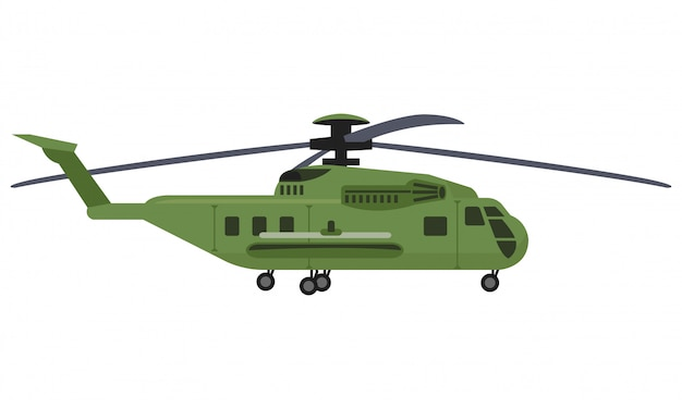 Helicopter with missile isolated on white background