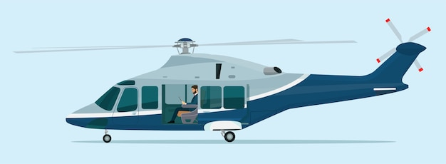Helicopter with an open passenger door and businessman inside.  illustration.