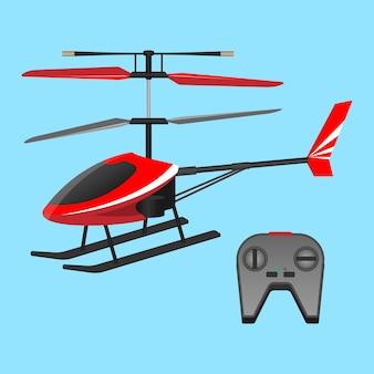 青い背景に分離されたリモコン付きヘリコプター。赤いヘリコプターのおもちゃとボタン付きの黒い小さなコントロールパネル。リアルなフラットデザインの飛行輸送のおもちゃコレクション