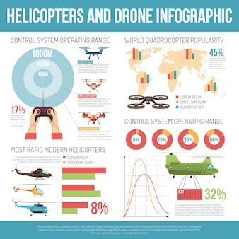 ヘリコプターとドローンのインフォグラフィック 無料ベクター