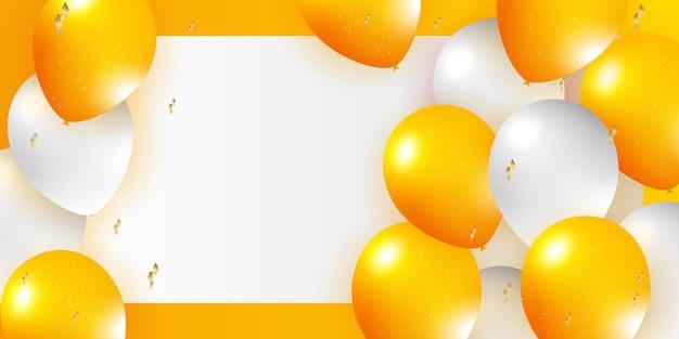 Helium balloon realistic orange white 3d design for decorating festivals festivalsparties celebratio...