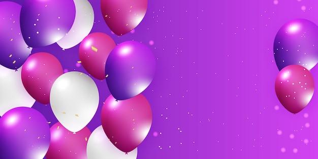 ヘリウムバルーンリアルな紫白の3dデザインお祭りを飾るためにフェスティバルパーティーのお祝い...