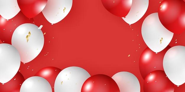 Helium balloon realistic red white 3d design for decorating festivals festivalsparties celebration b...