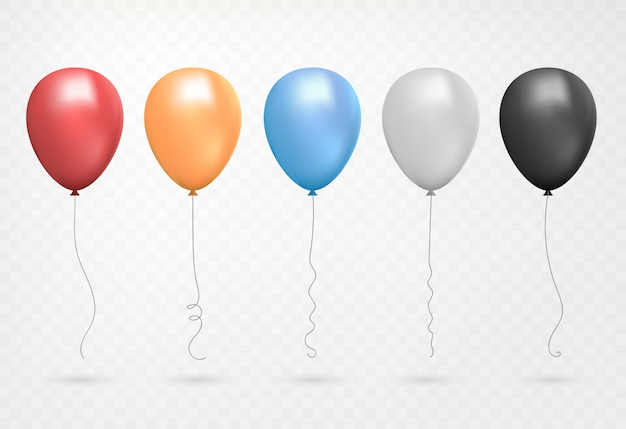Helium balloon shine colored set. flying realistic glossy red, blue, grey, yellow balloons with ribbons.