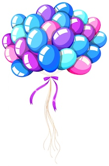 Helium balloons tied with ribbon
