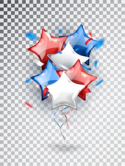 透明な背景に分離されたアメリカの国旗の国旗の色でヘリウムスター風船作曲。国民の休日の背景や誕生日パーティーのための米国バルーンフェスティバルの装飾。