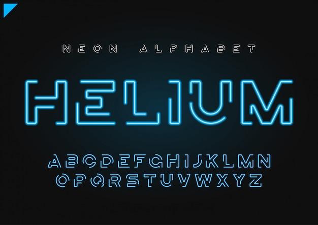 Гелий вектор футуристический линейный неоновый алфавит, гарнитура, буквы