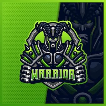 地獄の騎士戦士マスコットeスポーツロゴデザインイラストテンプレート、怖い騎士のロゴ