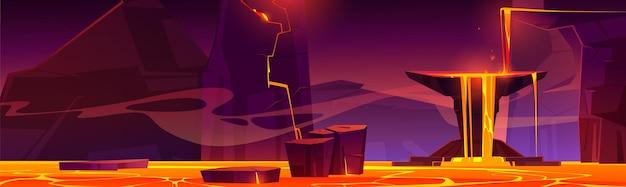 地獄の風景、ひびの入った石から溶岩流が流れる地獄の熱い火山の洞窟