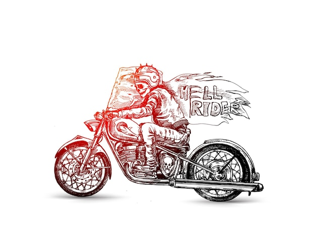 Hell rider with scythe riding motorcycle