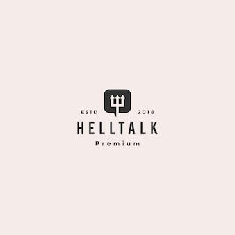 Hell talk pitchfork devil logo vector illustration