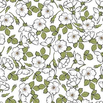Hellebore anemone floral seamless pattern