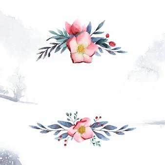 水彩画のベクトルで描かれたhelleboreフラワーフレーム