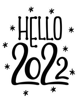 こんにちは2022手描き面白いバナー新年のコンセプト手描きベクトルイラスト分離