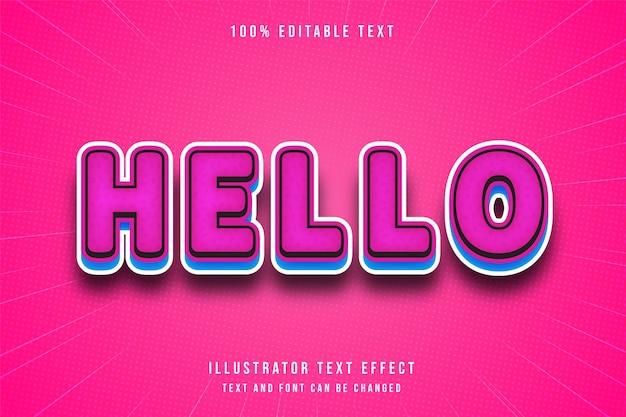 안녕하세요, 3d 편집 가능한 텍스트 효과 핑크 그라데이션 블루 만화 스타일