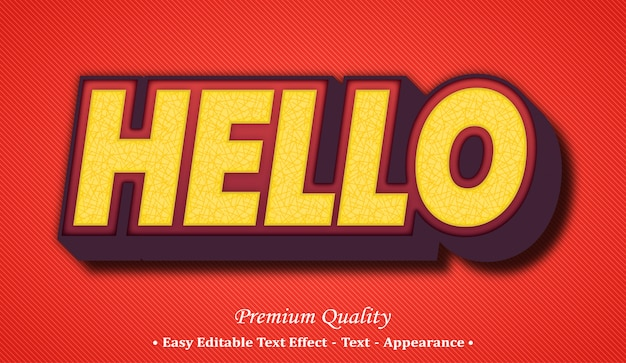 Hello 3d editable text style effect