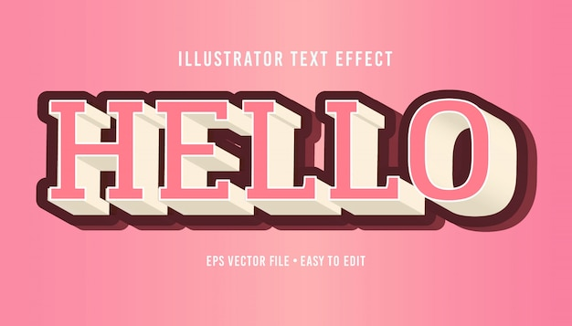 Hello 3d pink text style editable vector eps text effect