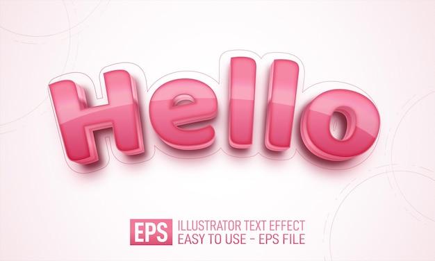 こんにちは3dテキスト編集可能なスタイル効果テンプレート