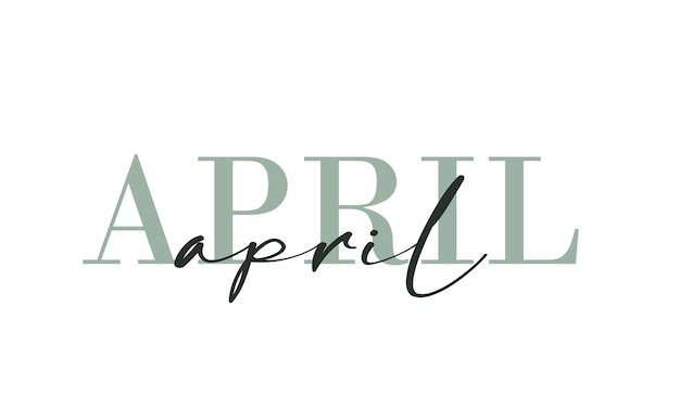 Hello april card. one line. lettering poster with text. vector eps 10. isolated on white background.