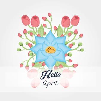 아름다운 꽃 아이콘 안녕하세요 4 월 디자인