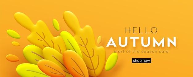 Привет осень 3d минимальный баннер с оранжевыми листьями